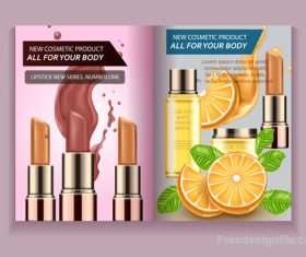 Natural cosmetic advertisement brochure page template vector 04