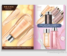 Natural cosmetic advertisement brochure page template vector 05