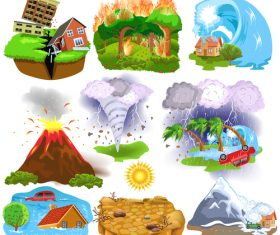 Natural disasters illustration vector design