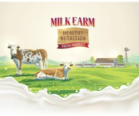 Natural farm milk food poster design vector 01