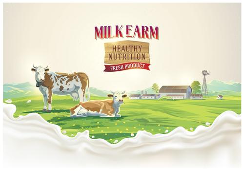 Natural farm milk food poster design vector 01