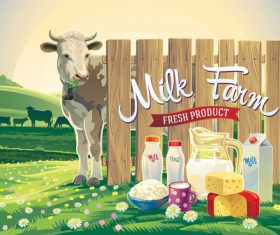 Natural farm milk food poster design vector 02