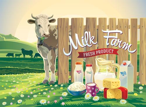 Natural farm milk food poster design vector 02