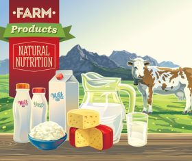 Natural farm milk food poster design vector 03