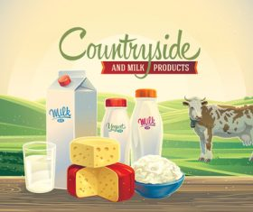 Natural farm milk food poster design vector 04