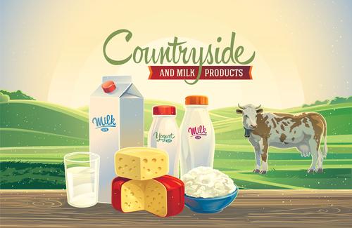 Natural farm milk food poster design vector 04