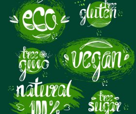 Nature with eco labels design vecotr