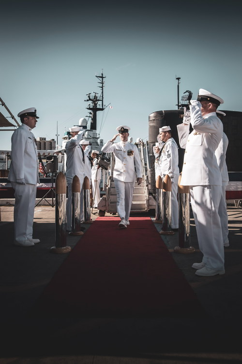 Navy salute Stock Photo