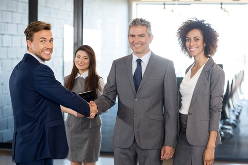 Negotiate a successful handshake Stock Photo 02