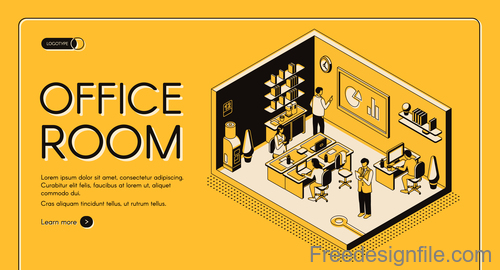 Office room isometric template design vector 01