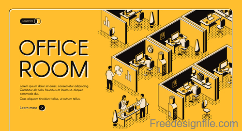 Office room isometric template design vector 02