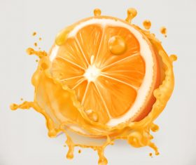 Orange juice splash vector illustration