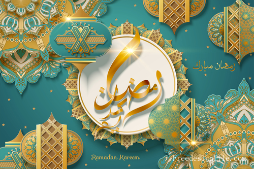 Ornate ramadan kareem festival background vectors
