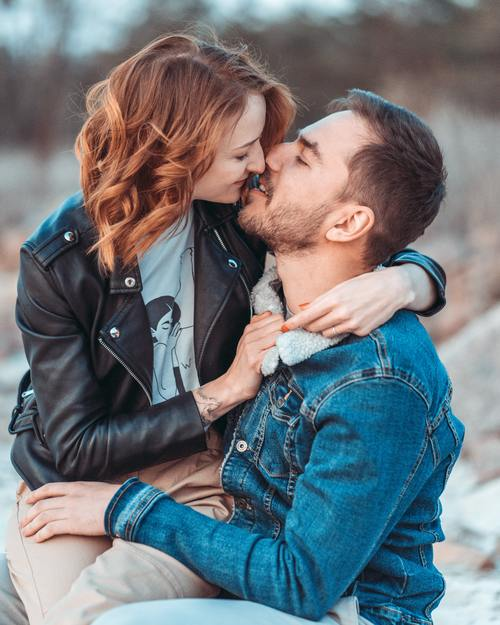 Outdoor intimate couple Stock Photo