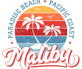 Paradise Beach Malibu Logo design vector