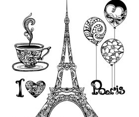 Paris vintage decorative design vector