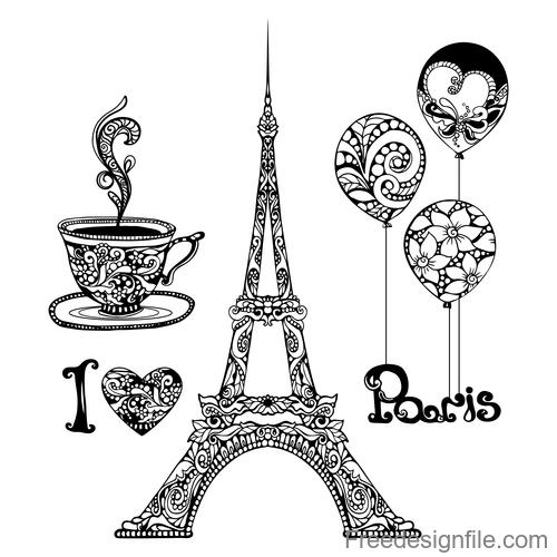Paris vintage decorative design vector