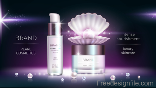 Pearl cosmetics poster template vector