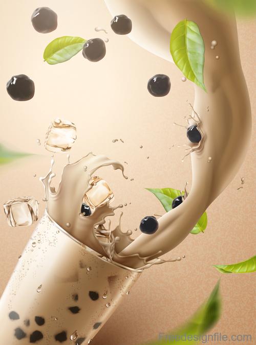 Pearl milk tea splash vector illustration 01