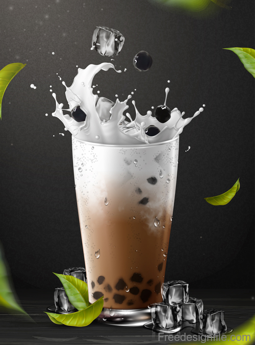 Pearl milk tea splash vector illustration 02