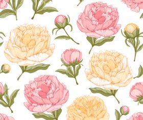 Peonies flower seamless pattern design vector