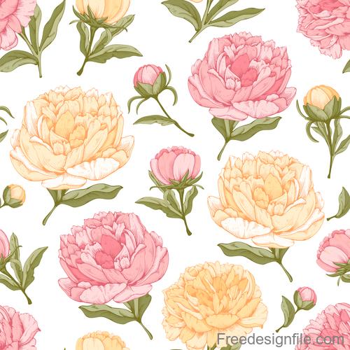 Peonies flower seamless pattern design vector