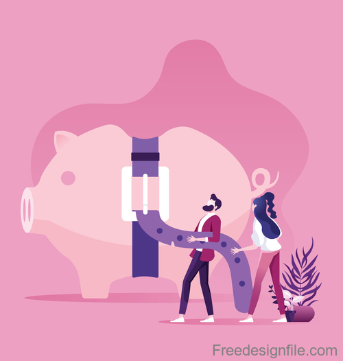 Piggy bank with tight belt business financial concept vector