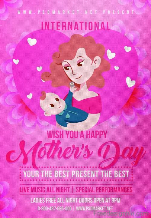Pink Mothers Day flyer PSD template vector