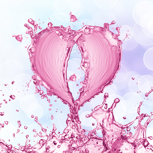 Pink heart from water splash with bubbles Stock Photo 05