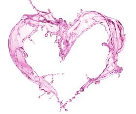 Pink heart from water splash with bubbles Stock Photo 06