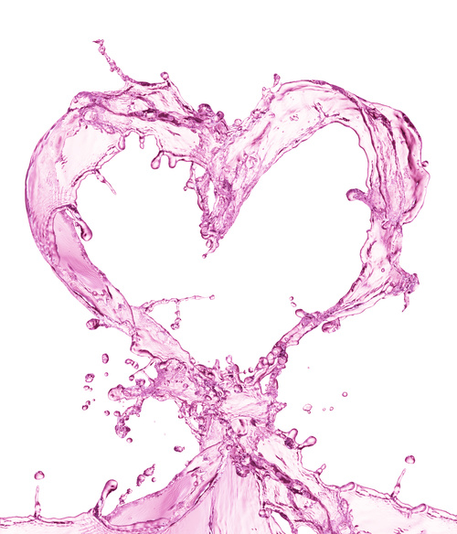Pink heart from water splash with bubbles Stock Photo 07