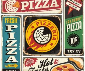 Pizza menu restaurant vector material