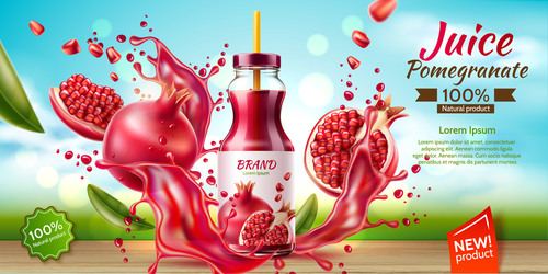 Pomegranate juice advertising poster design vector 01