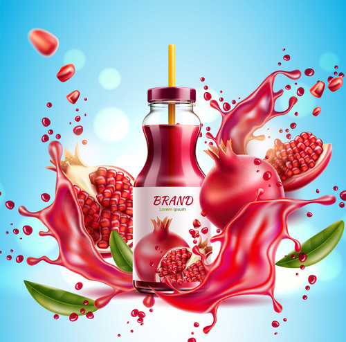 Pomegranate juice advertising poster design vector 02