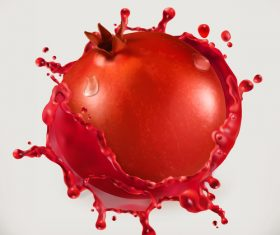 Pomegranate juice splash vector illustration