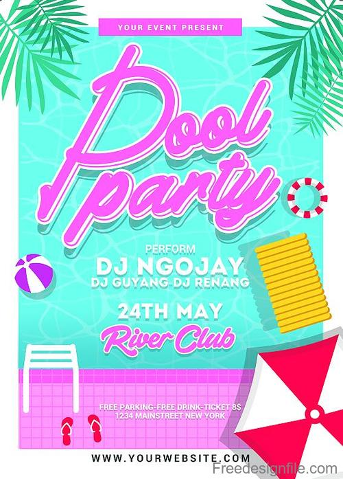 Pool Party Flyer PSD Template Free Download