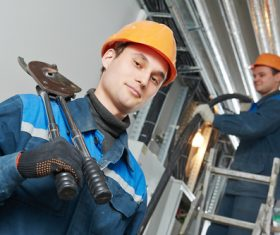 Professional Electrician repair line Stock Photo