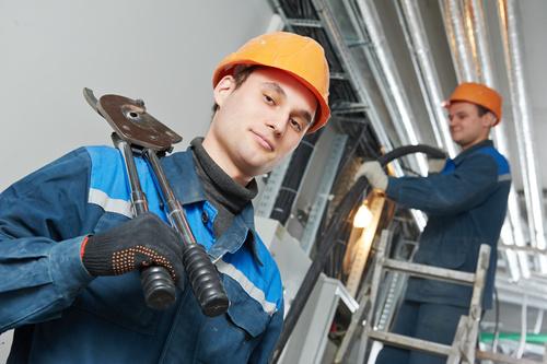Professional Electrician repair line Stock Photo