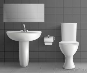 Public toilet interior design template vector 01