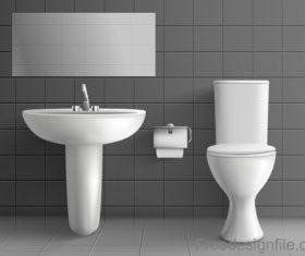 Public toilet interior design template vector 01