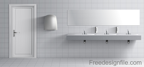 Public toilet interior design template vector 02