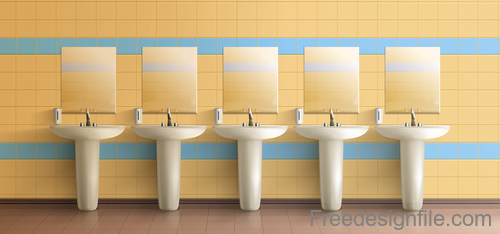 Public toilet interior design template vector 03
