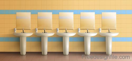 Public toilet interior design template vector 03