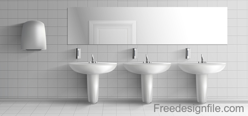 Public toilet interior design template vector 04