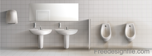 Public toilet interior design template vector 05