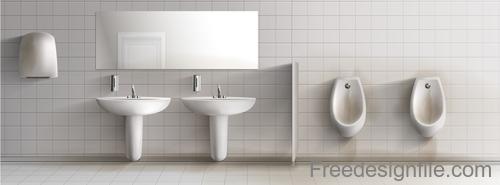 Public toilet interior design template vector 05