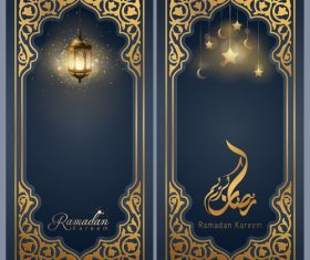 Islamic greeting banner background design for Ramadan Kareem vector