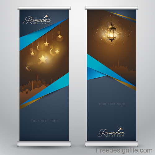 Ramadan Kareem vertical template design with mosque and arabic