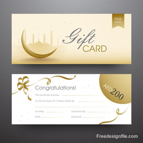 Ramadan gift card template vector 01