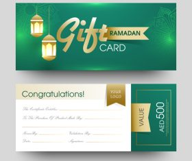 Ramadan gift card template vector 02